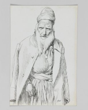 James Tissot (French, 1836-1902). <em>Type of Jew</em>, 1886-1887 or 1889. Pen and ink on paper mounted on board, Sheet: 7 x 4 5/8 in. (17.8 x 11.7 cm). Brooklyn Museum, Purchased by public subscription, 00.159.403.2 (Photo: Brooklyn Museum, 00.159.403.2_IMLS_PS3.jpg)