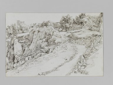 James Tissot (French, 1836-1902). <em>Lake of Gennesaret near Medgel</em>, 1886-1887 or 1889. Pen and ink on paper mounted on board, Sheet: 7 1/16 x 10 1/4 in. (17.9 x 26 cm). Brooklyn Museum, Purchased by public subscription, 00.159.405 (Photo: Brooklyn Museum, 00.159.405_IMLS_PS3.jpg)