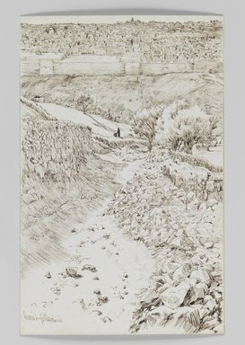 James Tissot (French, 1836-1902). <em>Road Leading from Gethsemane to the Mount of the Ascension (Chemin allant de Getsemani au mont de l'Ascension)</em>, 1886-1887 or 1889. Pen and ink, Sheet: 7 1/4 x 4 11/16 in. (18.4 x 11.9 cm). Brooklyn Museum, Purchased by public subscription, 00.159.408 (Photo: Brooklyn Museum, 00.159.408_IMLS_PS3.jpg)