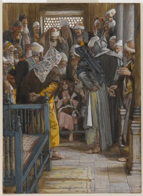 James Tissot (French, 1836-1902). <em>Jesus Among the Doctors (Jésus parmi les docteurs)</em>, 1886-1894. Opaque watercolor over graphite on gray wove paper, Image: 8 15/16 x 6 9/16 in. (22.7 x 16.7 cm). Brooklyn Museum, Purchased by public subscription, 00.159.40 (Photo: Brooklyn Museum, 00.159.40_PS1.jpg)