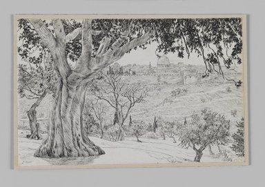 James Tissot (French, 1836-1902). <em>Half Way Up the Mount of Olives (A mi-côté du mont des Oliviers)</em>, 1886-1887 or 1889. Pen and ink on paper mounted on board, Sheet: 4 11/16 x 7 3/16 in. (11.9 x 18.3 cm). Brooklyn Museum, Purchased by public subscription, 00.159.410 (Photo: Brooklyn Museum, 00.159.410_IMLS_PS3.jpg)