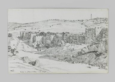 James Tissot (French, 1836-1902). <em>Walls of Jerusalem, North Side</em>, 1886-1887 or 1889. Pen and ink on paper mounted on board, Sheet: 4 11/16 x 7 1/4 in. (11.9 x 18.4 cm). Brooklyn Museum, Purchased by public subscription, 00.159.412 (Photo: Brooklyn Museum, 00.159.412_IMLS_PS3.jpg)