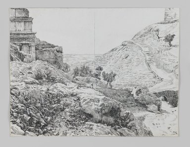 James Tissot (French, 1836-1902). <em>Tomb of Absalom, Valley of Jehoshaphat</em>, 1886-1887 or 1889. Pen and ink on paper mounted on paperboard, Sheet (two sheets mounted together): 7 3/16 x 9 3/8 in. (18.3 x 23.8 cm). Brooklyn Museum, Purchased by public subscription, 00.159.413 (Photo: Brooklyn Museum, 00.159.413_IMLS_PS3.jpg)