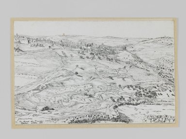 James Tissot (French, 1836-1902). <em>Jerusalem Taken from the Mount of Evil Counsel (Jérusalem, vue prise du mont du Mauvais-Conseil)</em>, 1886-1887 or 1889. Pen and ink, Sheet: 4 3/4 x 7 1/4 in. (12.1 x 18.4 cm). Brooklyn Museum, Purchased by public subscription, 00.159.414 (Photo: Brooklyn Museum, 00.159.414_IMLS_PS3.jpg)