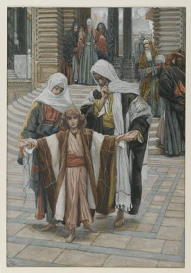 James Tissot (French, 1836-1902). <em>Jesus Found in the Temple (Jesus retrouvé dans le temple)</em>, 1886-1894. Opaque watercolor over graphite on gray wove paper, Image: 10 1/8 x 6 15/16 in. (25.7 x 17.6 cm). Brooklyn Museum, Purchased by public subscription, 00.159.41 (Photo: Brooklyn Museum, 00.159.41_PS2.jpg)