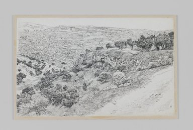 James Tissot (French, 1836-1902). <em>Valley of Hinnom, Haceldama</em>, 1886-1887 or 1889. Pen and ink, Sheet: 5 3/4 x 9 3/16 in. (14.6 x 23.3 cm). Brooklyn Museum, Purchased by public subscription, 00.159.420 (Photo: Brooklyn Museum, 00.159.420_IMLS_PS3.jpg)