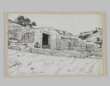 James Tissot (French, 1836-1902). <em>Ancient Tombs, Valley of Hinnom</em>, 1886-1887 or 1889. Pen and ink, Sheet: 4 11/16 x 7 1/4 in. (11.9 x 18.4 cm). Brooklyn Museum, Purchased by public subscription, 00.159.421 (Photo: Brooklyn Museum, 00.159.421_IMLS_PS3.jpg)