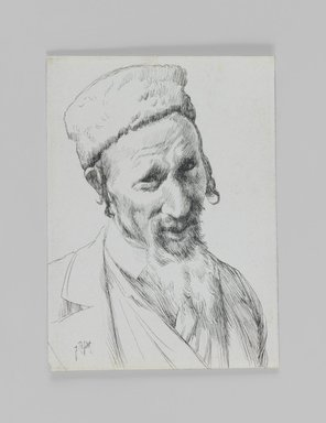 James Tissot (French, 1836-1902). <em>Type of Jew</em>, 1886-1887 or 1889. Pen and ink on paper mounted on board, Sheet: 4 11/16 x 3 7/16 in. (11.9 x 8.7 cm). Brooklyn Museum, Purchased by public subscription, 00.159.424.1 (Photo: Brooklyn Museum, 00.159.424.1_IMLS_PS3.jpg)