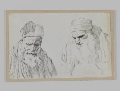 James Tissot (French, 1836-1902). <em>Types of Jews</em>, 1886-1887 or 1889. Ink on paper mounted on board, Sheet: 4 3/4 x 7 1/4 in. (12.1 x 18.4 cm). Brooklyn Museum, Purchased by public subscription, 00.159.426 (Photo: Brooklyn Museum, 00.159.426_IMLS_PS3.jpg)