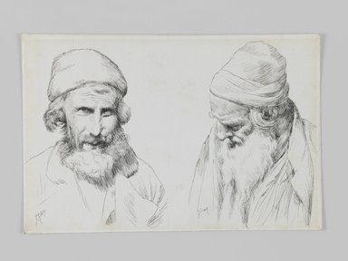 James Tissot (French, 1836-1902). <em>Jews and Yemenites, Jerusalem</em>, 1886-1887 or 1889. Pen and ink on wove paper, Sheet: 4 11/16 x 7 1/16 in. (11.9 x 17.9 cm). Brooklyn Museum, Purchased by public subscription, 00.159.427.1 (Photo: Brooklyn Museum, 00.159.427.1_IMLS_PS3.jpg)