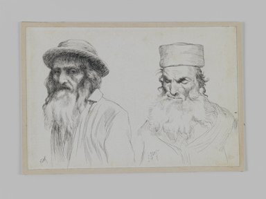 James Tissot (French, 1836-1902). <em>Types of Jews</em>, 1886-1887 or 1889. Pen and ink, Sheet: 4 3/4 x 7 in. (12.1 x 17.8 cm). Brooklyn Museum, Purchased by public subscription, 00.159.428 (Photo: Brooklyn Museum, 00.159.428_IMLS_PS3.jpg)