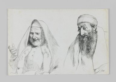 James Tissot (French, 1836-1902). <em>Jew and Jewess</em>, 1886-1887 or 1889. Pen and ink, Sheet: 4 3/4 x 7 1/16 in. (12.1 x 17.9 cm). Brooklyn Museum, Purchased by public subscription, 00.159.429 (Photo: Brooklyn Museum, 00.159.429_IMLS_PS3.jpg)