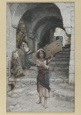 James Tissot (French, 1836-1902). <em>The Youth of Jesus (Jeunesse de Jésus)</em>, 1886-1894. Opaque watercolor over graphite on gray wove paper, Image: 8 13/16 x 5 9/16 in. (22.4 x 14.1 cm). Brooklyn Museum, Purchased by public subscription, 00.159.42 (Photo: Brooklyn Museum, 00.159.42_PS2.jpg)