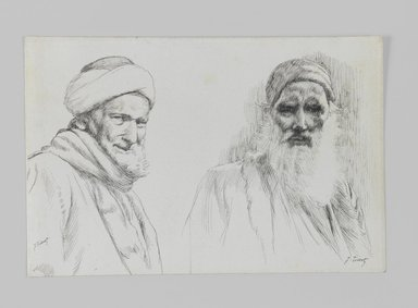 James Tissot (French, 1836-1902). <em>Types of Jews</em>, 1886-1887 or 1889. Pen and ink, Sheet: 4 5/8 x 7 1/16 in. (11.7 x 17.9 cm). Brooklyn Museum, Purchased by public subscription, 00.159.431 (Photo: Brooklyn Museum, 00.159.431_IMLS_PS3.jpg)