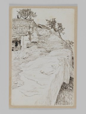 James Tissot (French, 1836-1902). <em>Tombs in the Valley of Hinnom</em>, 1886-1887 or 1889. Pen and ink on paper mounted on board, Sheet: 7 1/4 x 4 5/8 in. (18.4 x 11.7 cm). Brooklyn Museum, Purchased by public subscription, 00.159.433 (Photo: Brooklyn Museum, 00.159.433_IMLS_PS3.jpg)