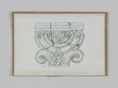 James Tissot (French, 1836-1902). <em>Phoenician Capital</em>, 1886-1887 or 1889. Pen and ink, Sheet: 3 7/8 x 5 5/8 in. (9.8 x 14.3 cm). Brooklyn Museum, Purchased by public subscription, 00.159.438.2 (Photo: Brooklyn Museum, 00.159.438.2_IMLS_PS3.jpg)
