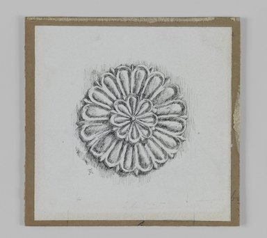 James Tissot (French, 1836-1902). <em>Judaic Ornament</em>, 1886-1887 or 1889. Pen and ink on paper, Sheet: 3 9/16 x 3 9/16 in. (9 x 9 cm). Brooklyn Museum, Purchased by public subscription, 00.159.438.4 (Photo: Brooklyn Museum, 00.159.438.4_IMLS_PS3.jpg)