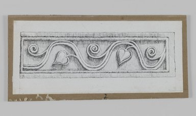 James Tissot (French, 1836-1902). <em>Judaic Ornament (Architectural Fragment with Vine and Heart)</em>, 1886-1887 or 1889. Ink on paper, Sheet: 2 9/16 x 5 7/8 in. (6.5 x 14.9 cm). Brooklyn Museum, Purchased by public subscription, 00.159.438.7 (Photo: Brooklyn Museum, 00.159.438.7_IMLS_PS3.jpg)