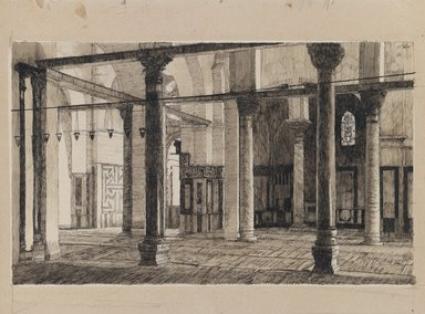 James Tissot (French, 1836-1902). <em>Transept of the Mosque of El-Aksa</em>, 1886-1887 or 1889. Ink and graphite on paperboard, Image: 6 5/16 x 10 3/8 in. (16 x 26.4 cm). Brooklyn Museum, Purchased by public subscription, 00.159.439 (Photo: Brooklyn Museum, 00.159.439_IMLS_PS3.jpg)