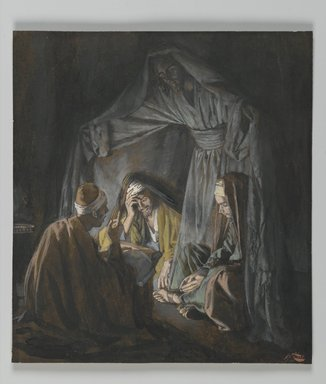 James Tissot (French, 1836-1902). <em>Two or Three Gathered in my Name (Deux ou trois personnes assemblées en mon nom)</em>, 1886-1894. Opaque watercolor over graphite on gray wove paper, Image: 6 3/16 x 5 9/16 in. (15.7 x 14.1 cm). Brooklyn Museum, Purchased by public subscription, 00.159.43 (Photo: Brooklyn Museum, 00.159.43_PS2.jpg)