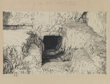 James Tissot (French, 1836-1902). <em>The Round Stone Seen from the Exterior</em>, 1886-1887 or 1889. Ink on paper, Image: 5 13/16 x 9 1/2 in. (14.8 x 24.1 cm). Brooklyn Museum, Purchased by public subscription, 00.159.440 (Photo: Brooklyn Museum, 00.159.440_IMLS_PS3.jpg)