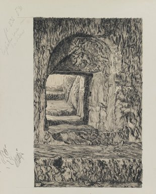 James Tissot (French, 1836-1902). <em>The Round Stone Seen from the Interior</em>, 1886-1887 or 1889. Ink and graphite on paperboard, Image: 9 1/2 x 6 1/16 in. (24.1 x 15.4 cm). Brooklyn Museum, Purchased by public subscription, 00.159.441 (Photo: Brooklyn Museum, 00.159.441_IMLS_PS3.jpg)