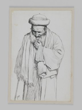 James Tissot (French, 1836-1902). <em>Type of Jew</em>, 1886-1887 or 1889. Ink on paper mounted on board, Sheet: 7 x 4 5/8 in. (17.8 x 11.7 cm). Brooklyn Museum, Purchased by public subscription, 00.159.442 (Photo: Brooklyn Museum, 00.159.442_IMLS_PS3.jpg)