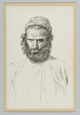 James Tissot (French, 1836-1902). <em>An Armenian</em>, 1886-1887 or 1889. Ink on wove paper mounted on board, Sheet: 7 3/16 x 4 11/16 in. (18.3 x 11.9 cm). Brooklyn Museum, Purchased by public subscription, 00.159.443 (Photo: Brooklyn Museum, 00.159.443_PS2.jpg)