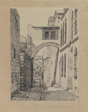 James Tissot (French, 1836-1902). <em>A Part of the Ancient Arch Called Ecce Homo</em>, 1886-1887 or 1889. Ink and graphite on paperboard, Image: 9 3/16 x 6 11/16 in. (23.3 x 17 cm). Brooklyn Museum, Purchased by public subscription, 00.159.445 (Photo: Brooklyn Museum, 00.159.445_IMLS_PS3.jpg)