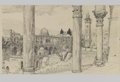 James Tissot (French, 1836-1902). <em>Esplanade of the Haram (Esplanade du Haram)</em>, 1886-1887 or 1889. Ink and graphite on paperboard, Image: 6 1/8 x 10 5/16 in. (15.6 x 26.2 cm). Brooklyn Museum, Purchased by public subscription, 00.159.448 (Photo: Brooklyn Museum, 00.159.448_IMLS_PS3.jpg)