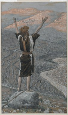 James Tissot (French, 1836-1902). <em>The Voice in the Desert (La voix dans le désert)</em>, 1886-1894. Opaque watercolor over graphite on gray wove paper, Image: 11 7/16 x 6 11/16 in. (29.1 x 17 cm). Brooklyn Museum, Purchased by public subscription, 00.159.44 (Photo: Brooklyn Museum, 00.159.44_PS1.jpg)