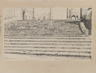 James Tissot (French, 1836-1902). <em>Staircase of the Court, Haram</em>, 1886-1887 or 1889. Ink and graphite on paperboard, Image: 6 1/16 x 10 1/8 in. (15.4 x 25.7 cm). Brooklyn Museum, Purchased by public subscription, 00.159.451 (Photo: Brooklyn Museum, 00.159.451_IMLS_PS3.jpg)