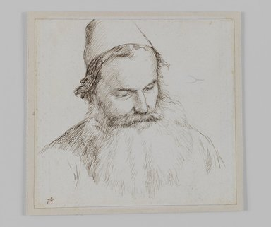 James Tissot (French, 1836-1902). <em>Type of Jew</em>, 1886-1887 or 1889. Ink on paper, Sheet: 4 11/16 x 4 15/16 in. (11.9 x 12.5 cm). Brooklyn Museum, Purchased by public subscription, 00.159.453 (Photo: Brooklyn Museum, 00.159.453_IMLS_PS3.jpg)