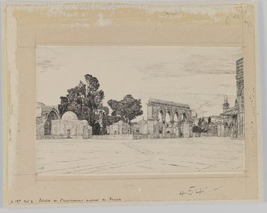 James Tissot (French, 1836-1902). <em>Supposed Site of the Temple</em>, 1886-1887 or 1889. Ink on paper, Sheet: 8 7/8 x 11 1/8 in. (22.5 x 28.3 cm). Brooklyn Museum, Purchased by public subscription, 00.159.454 (Photo: Brooklyn Museum, 00.159.454_IMLS_PS3.jpg)