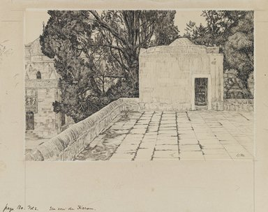 James Tissot (French, 1836-1902). <em>A Corner of the Haram</em>, 1886-1887 or 1889. Ink and graphite on paperboard, Image: 6 3/16 x 9 3/8 in. (15.7 x 23.8 cm). Brooklyn Museum, Purchased by public subscription, 00.159.455 (Photo: Brooklyn Museum, 00.159.455_IMLS_PS3.jpg)