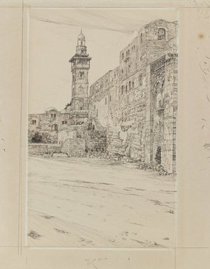 James Tissot (French, 1836-1902). <em>Site of the Antonia Tower</em>, 1886-1887 or 1889. Ink and graphite on paperboard, Image: 9 3/4 x 6 in. (24.8 x 15.2 cm). Brooklyn Museum, Purchased by public subscription, 00.159.456 (Photo: Brooklyn Museum, 00.159.456_IMLS_PS3.jpg)