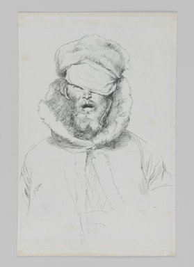 James Tissot (French, 1836-1902). <em>Type of Jew</em>, 1886-1887 or 1889. Ink on paper, Sheet: 7 1/8 x 4 5/8 in. (18.1 x 11.7 cm). Brooklyn Museum, Purchased by public subscription, 00.159.459 (Photo: Brooklyn Museum, 00.159.459_IMLS_PS3.jpg)