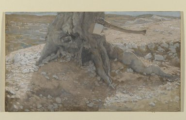 James Tissot (French, 1836-1902). <em>The Axe in the Trunk of the Tree (La cognée dans le tronc de l'arbre)</em>, 1886-1894. Opaque watercolor over graphite on gray wove paper, Image: 5 1/16 x 8 7/8 in. (12.9 x 22.5 cm). Brooklyn Museum, Purchased by public subscription, 00.159.45 (Photo: Brooklyn Museum, 00.159.45_PS2.jpg)