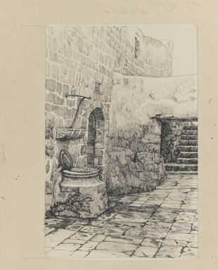 James Tissot (French, 1836-1902). <em>An Old Cistern</em>, 1886-1887 or 1889. Ink and graphite on paperboard, Image: 9 3/8 x 6 3/16 in. (23.8 x 15.7 cm). Brooklyn Museum, Purchased by public subscription, 00.159.460 (Photo: Brooklyn Museum, 00.159.460_IMLS_PS3.jpg)