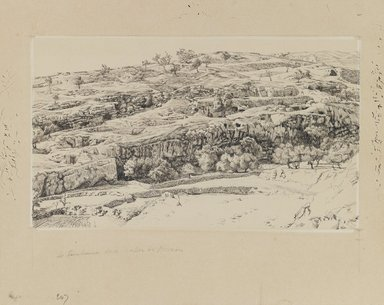 James Tissot (French, 1836-1902). <em>The Tombs in the Valley of Hinnom</em>, 1886-1887 or 1889. Ink and graphite on paperboard, Image: 5 1/2 x 9 7/16 in. (14 x 24 cm). Brooklyn Museum, Purchased by public subscription, 00.159.462 (Photo: Brooklyn Museum, 00.159.462_IMLS_PS3.jpg)