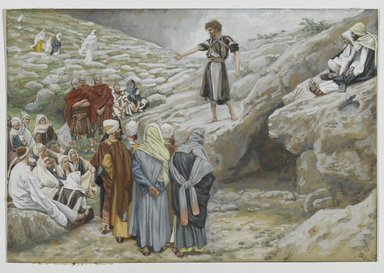 James Tissot (French, 1836-1902). <em>Saint John the Baptist and the Pharisees (Saint Jean-Baptiste et les pharisiens)</em>, 1886-1894. Opaque watercolor over graphite on gray wove paper, Image: 6 3/16 x 9 1/16 in. (15.7 x 23 cm). Brooklyn Museum, Purchased by public subscription, 00.159.47 (Photo: Brooklyn Museum, 00.159.47_PS2.jpg)