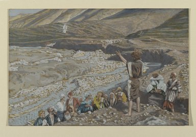 James Tissot (French, 1836-1902). <em>Saint John the Baptist Sees Jesus from Afar (Saint Jean-Baptiste voit Jésus de loin)</em>, 1886-1894. Opaque watercolor over graphite on gray wove paper, Image: 6 x 9 1/4 in. (15.2 x 23.5 cm). Brooklyn Museum, Purchased by public subscription, 00.159.48 (Photo: Brooklyn Museum, 00.159.48_PS2.jpg)