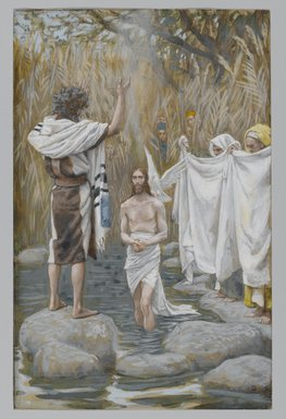 James Tissot (French, 1836-1902). <em>The Baptism of Jesus (Baptême de Jésus)</em>, 1886-1894. Opaque watercolor over graphite on gray wove paper, Image: 8 1/2 x 5 1/2 in. (21.6 x 14 cm). Brooklyn Museum, Purchased by public subscription, 00.159.49 (Photo: Brooklyn Museum, 00.159.49_PS2.jpg)