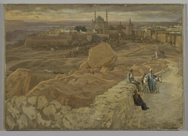 James Tissot (French, 1836-1902). <em>The Citadel at Cairo Seen from the Mokattam (La citadelle du Caire. Prise du Mokatam.)</em>, 1886-1894. Oil on composition board, 14 7/16 x 20 5/16 in.  (36.7 x 51.1 cm). Brooklyn Museum, Purchased by public subscription, 00.159.4 (Photo: Brooklyn Museum, 00.159.4_PS2.jpg)