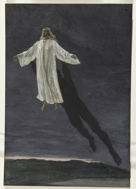 James Tissot (French, 1836-1902). <em>Jesus Transported by a Spirit onto a High Mountain (Jésus transporté par l'esprit sur une haute montagne)</em>, 1886-1894. Opaque watercolor over graphite on gray wove paper, Image: 10 7/16 x 7 1/4 in. (26.5 x 18.4 cm). Brooklyn Museum, Purchased by public subscription, 00.159.50 (Photo: Brooklyn Museum, 00.159.50_PS2.jpg)