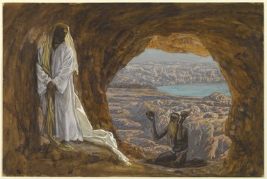 James Tissot (French, 1836-1902). <em>Jesus Tempted in the Wilderness (Jésus tenté dans le désert)</em>, 1886-1894. Opaque watercolor over graphite on gray wove paper, Image: 8 7/8 x 13 5/16 in. (22.5 x 33.8 cm). Brooklyn Museum, Purchased by public subscription, 00.159.51 (Photo: Brooklyn Museum, 00.159.51_PS1.jpg)