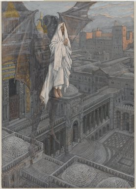 James Tissot (French, 1836-1902). <em>Jesus Carried up to a Pinnacle of the Temple (Jésus porté sur le pinacle du Temple)</em>, 1886-1894. Opaque watercolor over graphite on gray wove paper, Image: 8 3/4 x 6 1/4 in. (22.2 x 15.9 cm). Brooklyn Museum, Purchased by public subscription, 00.159.52 (Photo: Brooklyn Museum, 00.159.52_PS1.jpg)