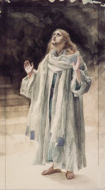James Tissot (French, 1836-1902). <em>Saint John the Evangelist (Saint Jean l'Évangeliste)</em>, 1886-1894. Watercolor wash over graphite on off-white wove paper, Sheet: 13 11/16 x 9 13/16 in. (34.8 x 24.9 cm). Brooklyn Museum, Purchased by public subscription, 00.159.53 (Photo: Brooklyn Museum, 00.159.53.jpg)
