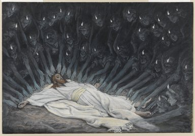 James Tissot (French, 1836-1902). <em>Jesus Ministered to by Angels (Jésus assisté par les anges)</em>, 1886-1894. Opaque watercolor over graphite on gray wove paper, Image: 6 11/16 x 9 3/4 in. (17 x 24.8 cm). Brooklyn Museum, Purchased by public subscription, 00.159.54 (Photo: Brooklyn Museum, 00.159.54_PS1.jpg)