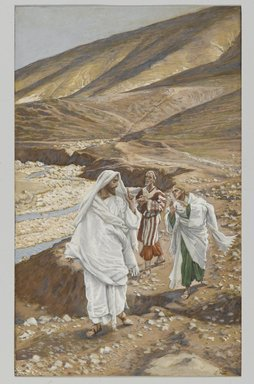 James Tissot (French, 1836-1902). <em>The Calling of Saint John and Saint Andrew (Vocation de Saint Jean et de Saint André)</em>, 1886-1894. Opaque watercolor over graphite on gray wove paper, Image: 9 13/16 x 6 in. (24.9 x 15.2 cm). Brooklyn Museum, Purchased by public subscription, 00.159.55 (Photo: Brooklyn Museum, 00.159.55_PS2.jpg)